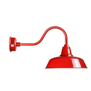 "12"" Goodyear LED Barn Light with Contemporary Arm in Cherry Red"