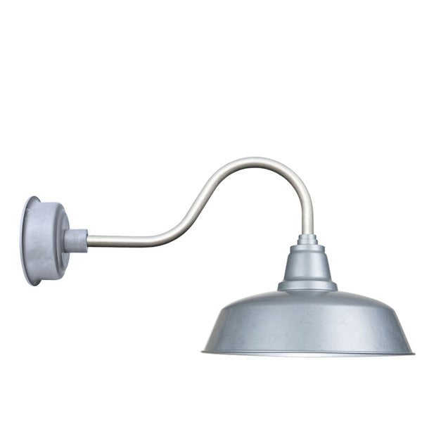 """10"""" Goodyear LED Barn Light with Contemporary Arm in Galvanized Silver"""