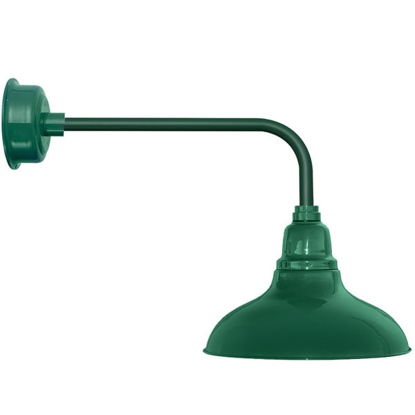 "8"" Dahlia LED Barn Light with Traditional Arm in Vintage Green"