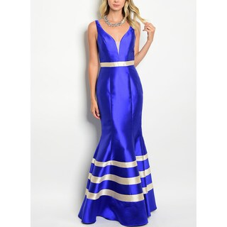 JED Women's Royal Blue Mermaid Sleeveless Long Gown