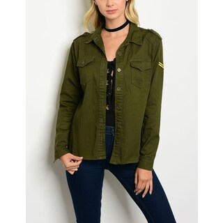 JED Women's Military Inspired Long Sleeve Button Down Overshirt