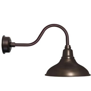 """8"""" Dahlia LED Barn Light with Contemporary Arm in Mahogany Bronze"""