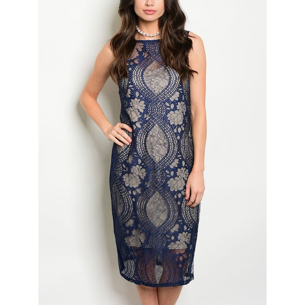0a56989d84b Shop JED Women s Knee Length Navy and Nude Sleeveless Lace Dress - Free  Shipping On Orders Over  45 - Overstock - 16643749