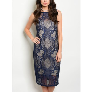 JED Women's Knee Length Navy and Nude Sleeveless Lace Dress