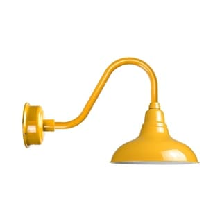 """12"""" Dahlia LED Barn Light with Rustic Arm in Yellow"""