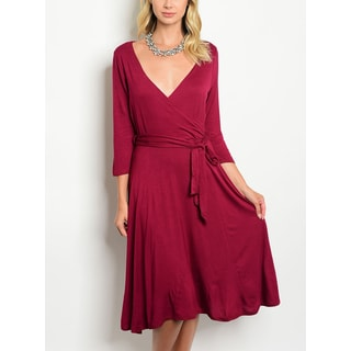 JED Women's Three-Quarter Sleeve Knee Length Solid Dress with Waist Tie