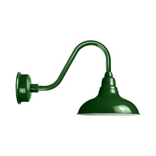"""12"""" Dahlia LED Barn Light with Rustic Arm in Vintage Green"""