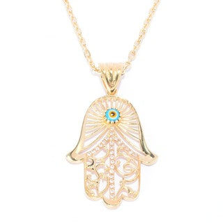 Evil Eye and White Topaz Hamsa Pendant