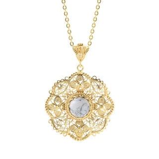Gemstone & Flower Turkish Filigree Vintage Style Pendant