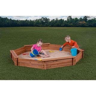 "Creative Cedar Designs Octagon Sandbox with Cover (7' x 6'5"" x 9"")"
