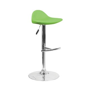 Offex Contemporary Green Vinyl Upholstery Adjustable Height Barstool with Chrome Base