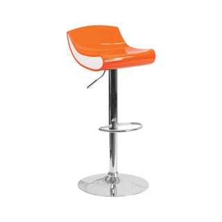 Offex Contemporary Orange/White Plastic Adjustable Height Barstool with Chrome Base