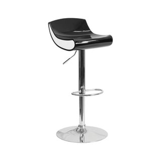 Offex Contemporary Black/White Plastic Adjustable Height Barstool with Chrome Base