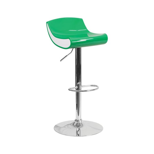 Offex Contemporary Green/White Plastic Adjustable Height Barstool with Chrome Base
