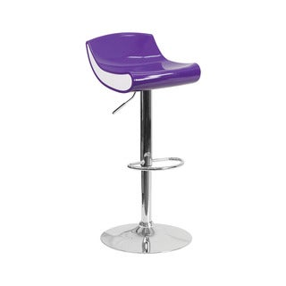 Offex Contemporary Purple/White Plastic Adjustable Height Barstool with Chrome Base