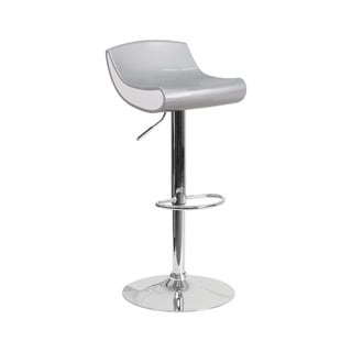 Offex Contemporary Silver and White Plastic Adjustable Height Bar Stool with Chrome Base