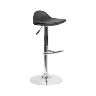Offex Contemporary Black Vinyl Adjustable Height Gas Lift Barstool with Chrome Base
