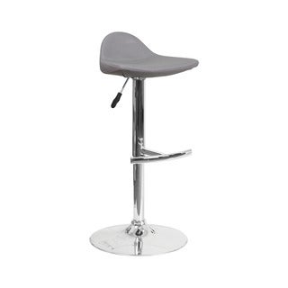 Offex Contemporary Grey Vinyl Adjustable Height Gas Lift Barstool with Chrome Base
