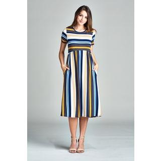 Spicy Mix Desirae Women's Striped Midi Dress with Side Slit Pockets