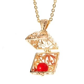 Treasure Chest Charm Box Pendant with Good Luck Gem