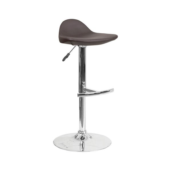 Offex Contemporary Brown Vinyl Adjustable Height Gas Lift Barstool with Chrome Base