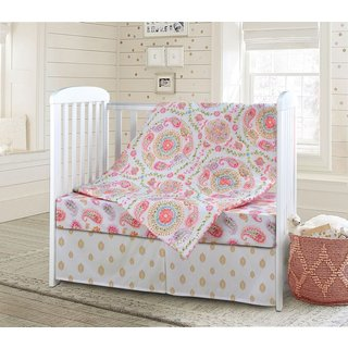 Laural Home Paisley Pink 3-Piece Baby Bedding Set