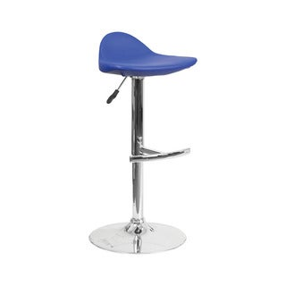 Offex Blue Vinyl Chrome Base Contemporary Adjustable Height Gas Lift Barstool