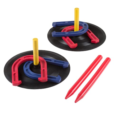 "Hey! Play! Rubber Horseshoes Game Set for Outdoor and Indoor Games - Multicolor - 6.25"" Horseshoe"