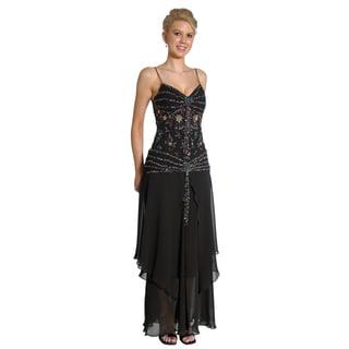 DFI Women's Black Beaded Long Prom Gown