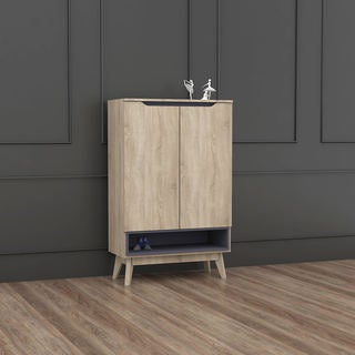 Mid-Century Two-Tone Oak and Grey Wood Storage Cabinet by Baxton Studio