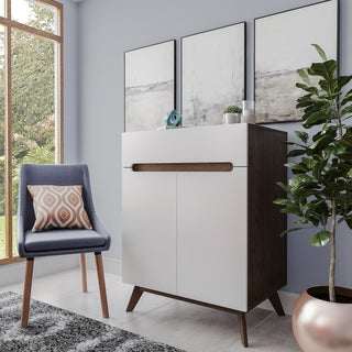 Mid-Century White and Walnut 2-door Storage Cabinet by Baxton Studio
