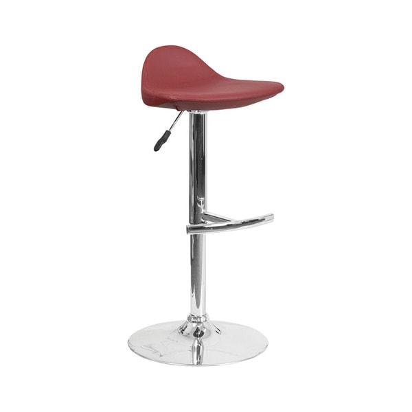 "Offex Contemporary Burgundy Vinyl Adjustable Height Gas Lift Barstool with Chrome Base - 17""w x 17""d x 37""h"