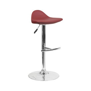 Offex Contemporary Burgundy Vinyl Adjustable Height Gas Lift Barstool with Chrome Base