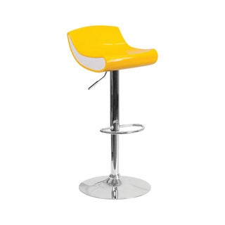 Offex Contemporary Yellow/White Plastic Adjustable Height Barstool with Chrome Base