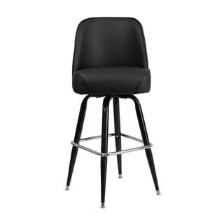Offex Black Vinyl Metal Barstool with Swivel Bucket Seat