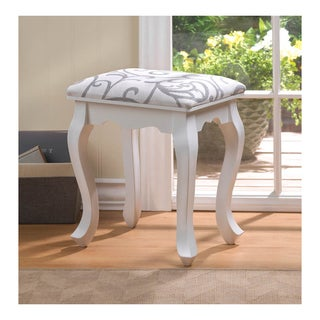 Koehler Home Decor Willow White Wood and Fabric Foot Stool