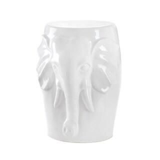 Koehler Home Decor White Ceramic Decorative Elephant Stool