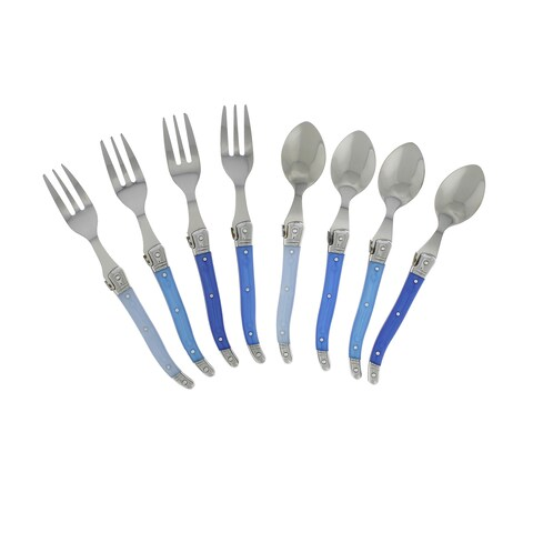 French Home 8 piece Laguiole Dessert / Cocktail Set with Shades of Blue Handles