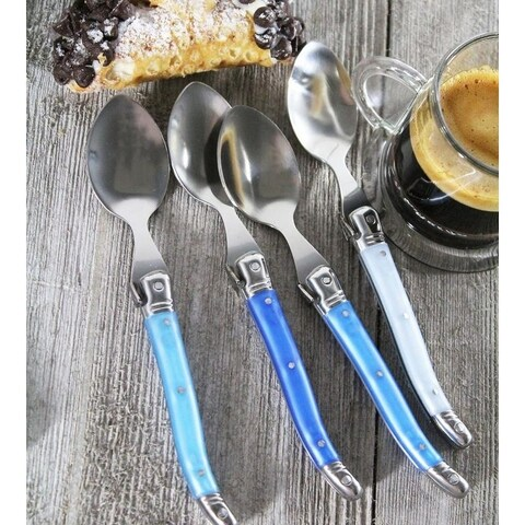 French Home Set of 4 Laguiole Shades of Blue Coffee Spoons