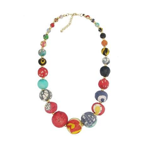 Handmade Graduated Kantha Bead Statement Necklace (India)