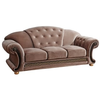 Luca Home Anthony Brown Microfiber Tufted Sofa