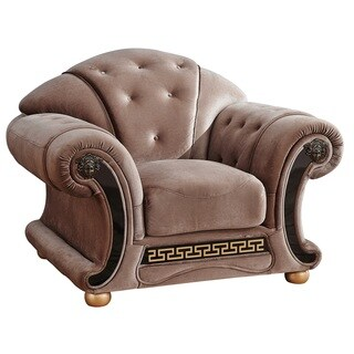 Luca Home Anthony Brown Microfiber Tufted Armchair