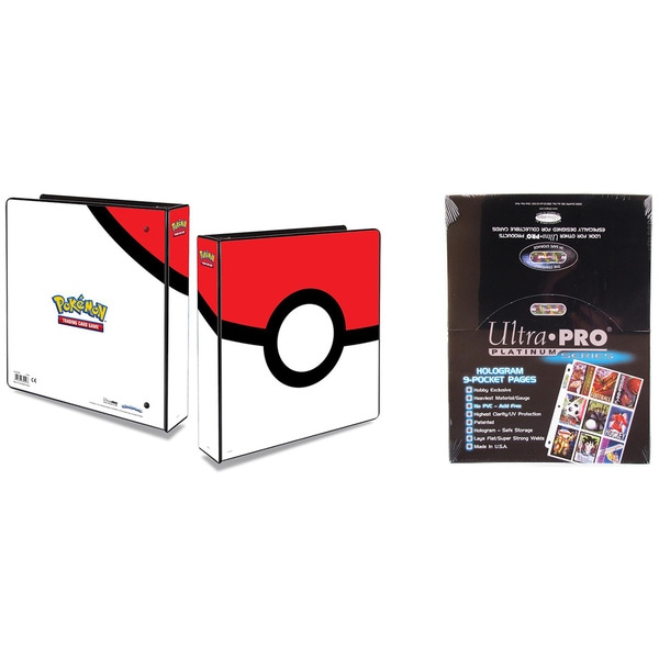 "Ultra Pro Pokémon Pokeball 2"" 3-Ring Binder Card Album with 100 Ultra Pro Platinum 9-Pocket Sheets"