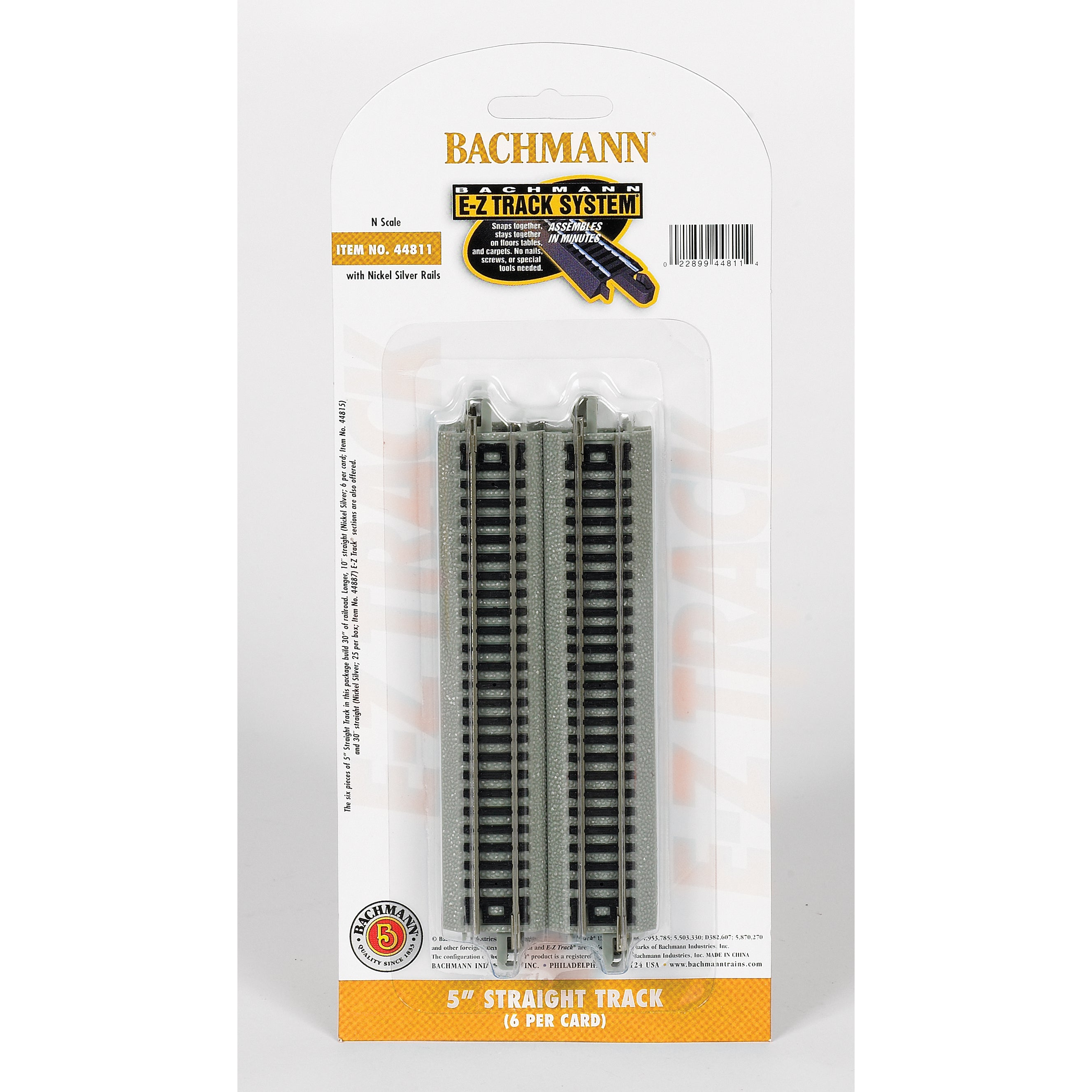 "Bachmann Trains 5"" Straight Track (6/Card) - N Scale (G02..."
