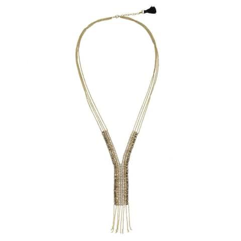 Handmade Fringed Metallic 'Y' Necklace (India)
