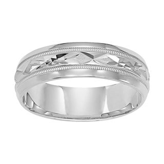 Cambridge 14k White Gold Comfort Fit Engraved Men's Wedding Band