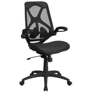 Executive Ventilated Transparent Mesh Back Office Chair with Padded Flip-up Arms