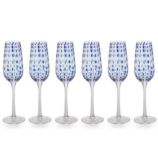 10-Inch Tall Mavi Champagne Flutes, Set of 6