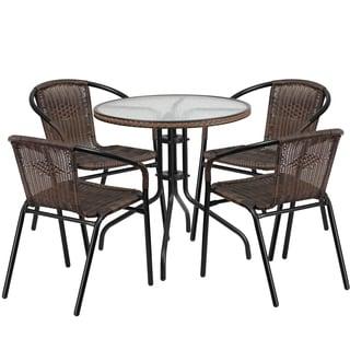 Zata Brown Rattan 5-piece Indoor/Outdoor Round Bistro Dining Set
