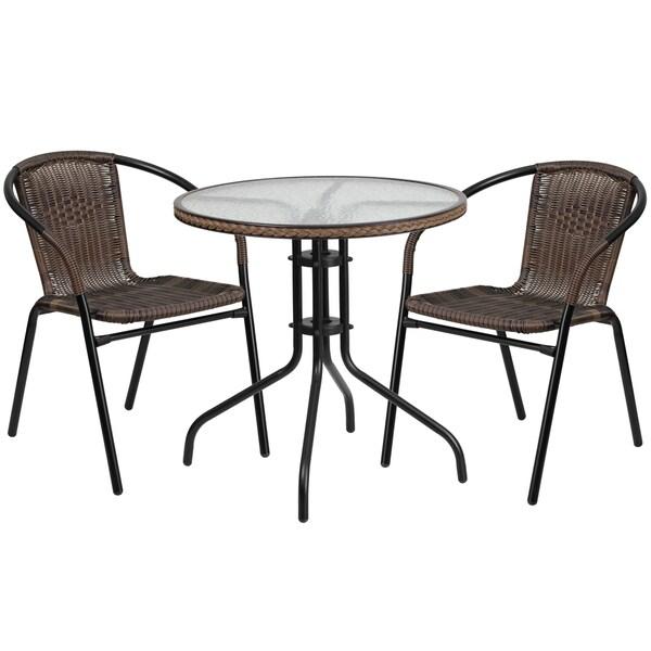 Zata Brown Rattan 3-piece Indoor Outdoor Round Bistro Dining Set